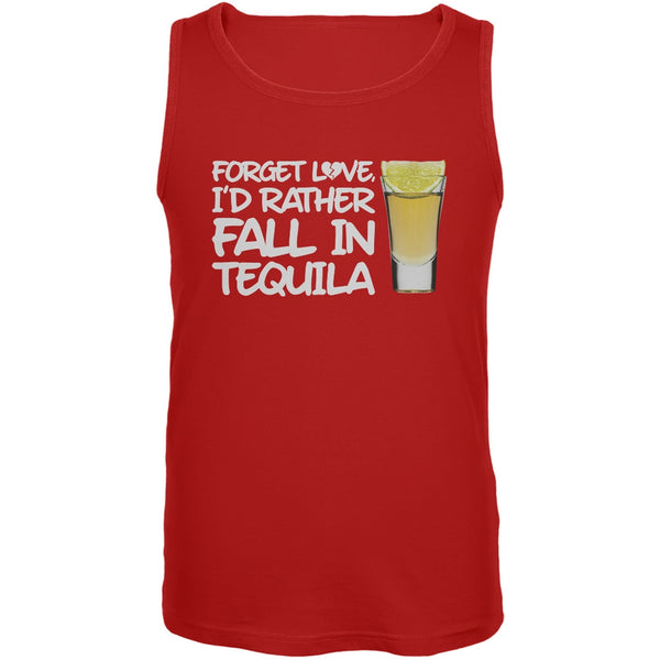 Forget Love, I'd Rather Fall in Tequila Red Mens Tank Top
