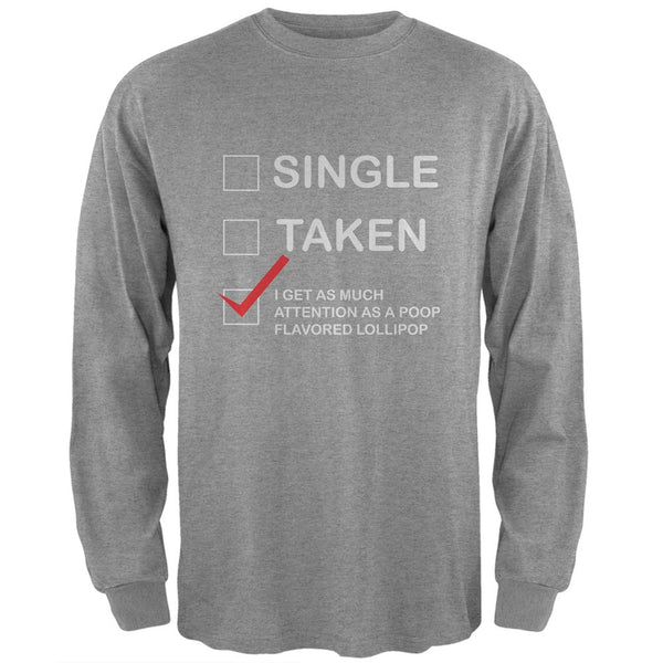 Valentine's Day I Get No Attention Heather Grey Adult Long Sleeve T-Shirt