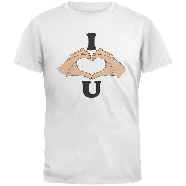 I Love You Hands White Adult T-Shirt