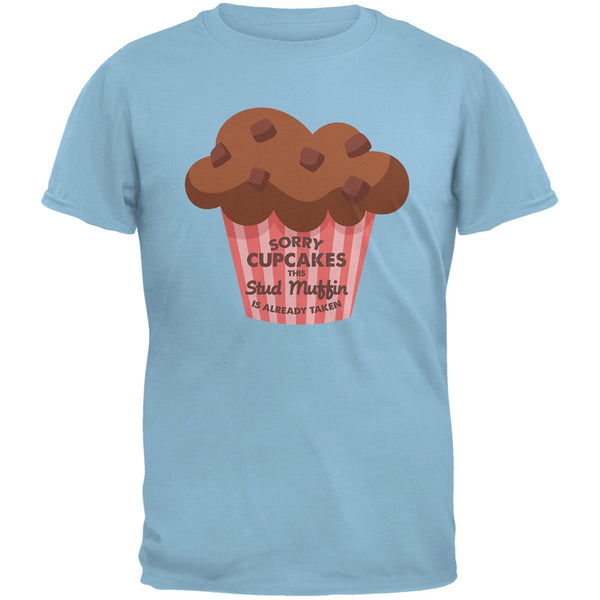 Valentine's Day Sorry Cupcakes Light Blue Adult T-Shirt