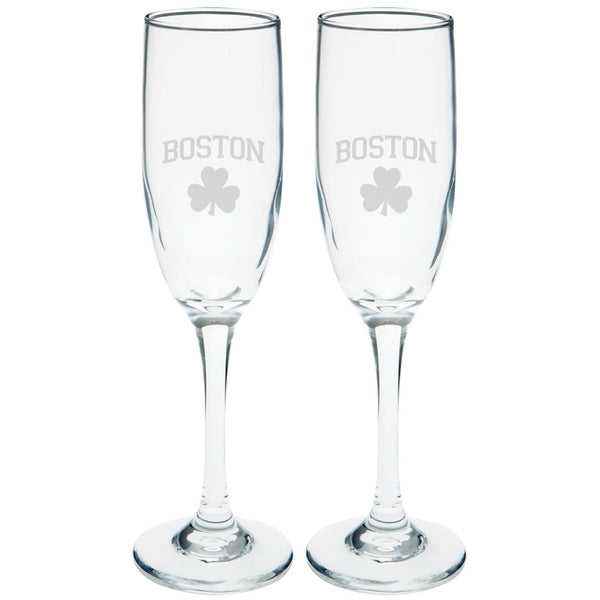 St. Patricks Day - Boston Shamrock Etched Champagne Glass Set