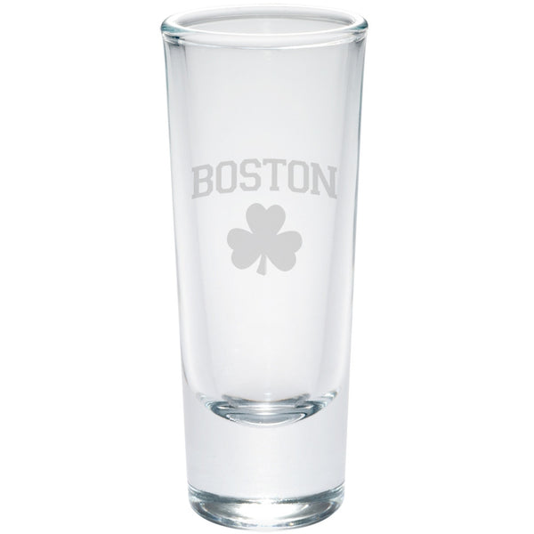 St. Patricks Day - Boston Shamrock Etched Glass Shooter