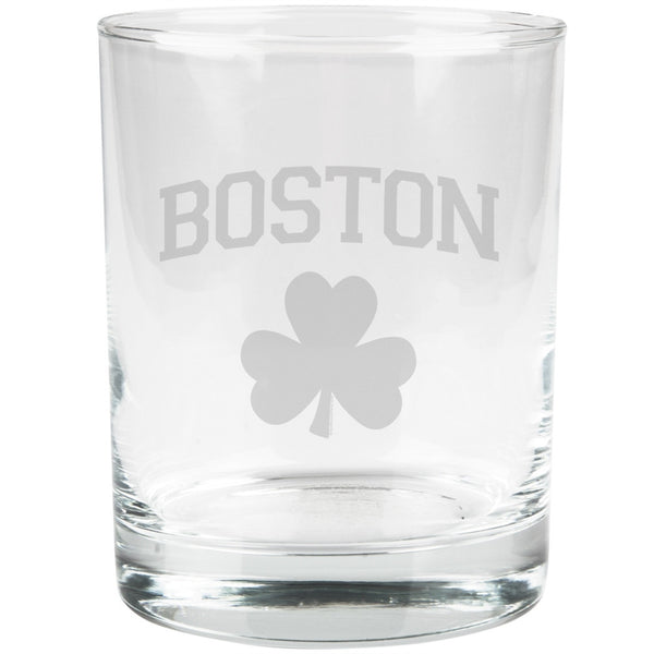 St. Patricks Day - Boston Shamrock Etched Glass Tumbler