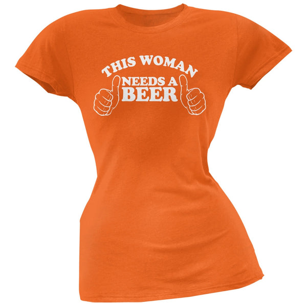 St. Patricks Day - This Woman Needs a Beer Orange Soft Juniors T-Shirt