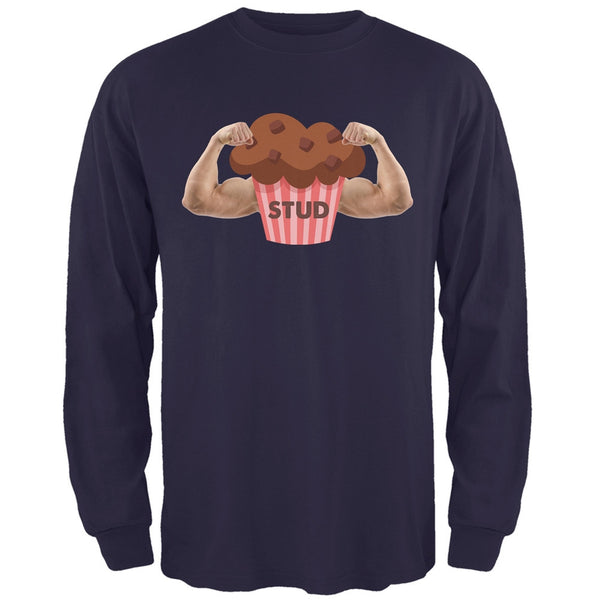 Stud Muffin Double Bicep Navy Adult Long Sleeve T-Shirt