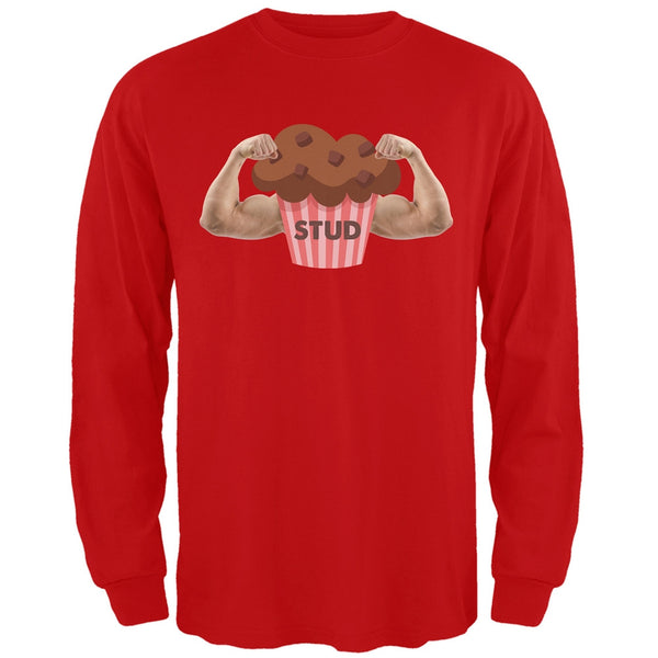 Stud Muffin Double Bicep Red Adult Long Sleeve T-Shirt