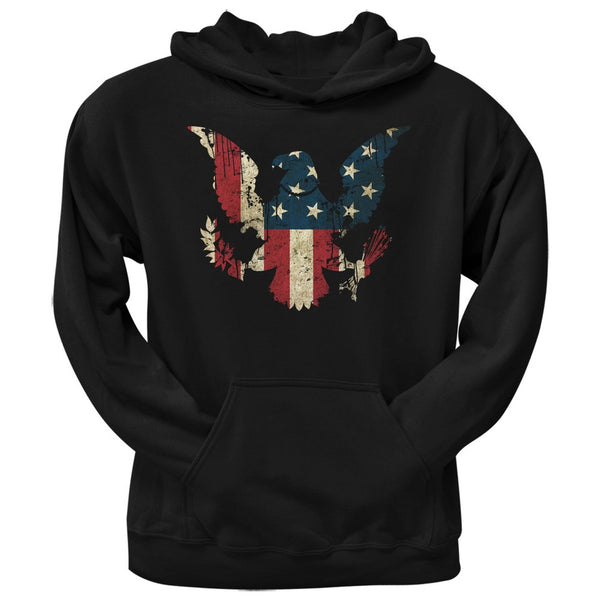 Eagle Distressed Flag Black Adult Pullover Hoodie