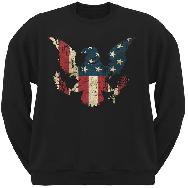 Eagle Distressed Flag Black Adult Crewneck Sweatshirt