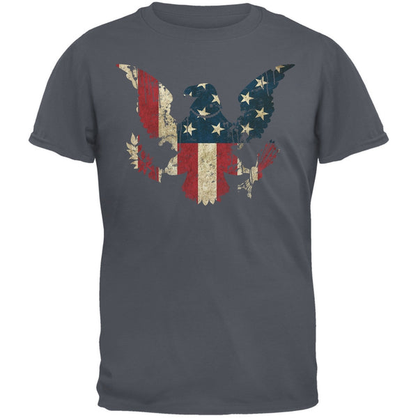 Eagle Distressed Flag Charcoal Grey Adult T-Shirt