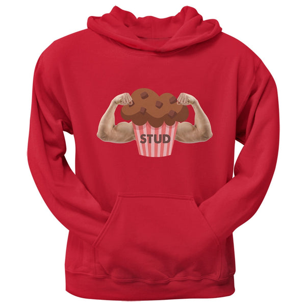 Stud Muffin Double Bicep Red Adult Pullover Hoodie