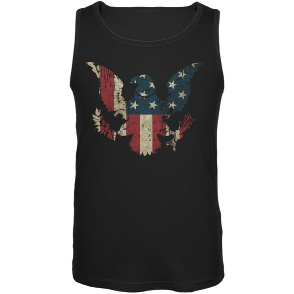 Eagle Distressed Flag Black Adult Tank Top