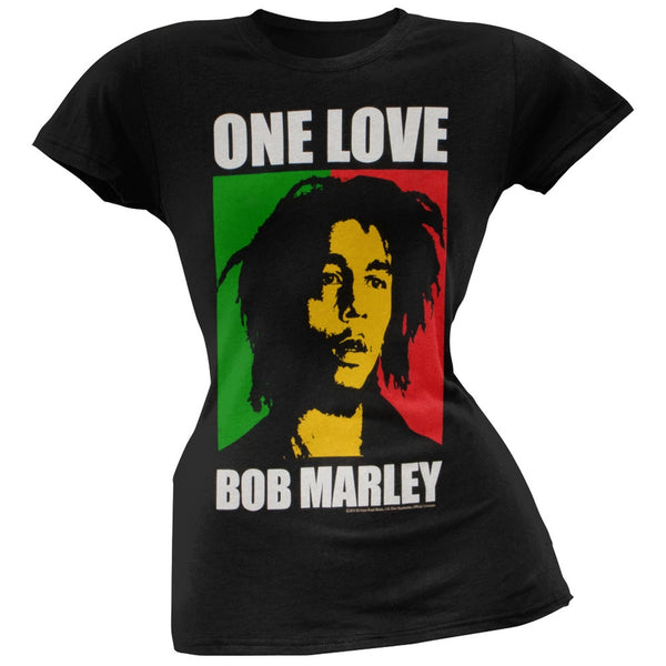 Bob Marley - Rasta One Love Portrait Juniors Black T-Shirt
