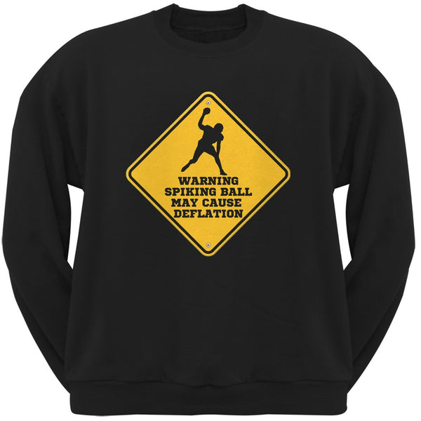 Warning Spiking Ball May Cause Deflation Black Adult Crew Neck Sweatshirt