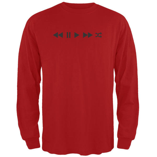 Play Buttons Red Adult Long Sleeve T-Shirt