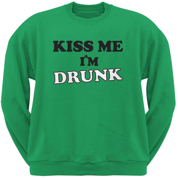 St. Patricks Day - Kiss Me I'm Drunk Green Adult Crew Neck Sweatshirt