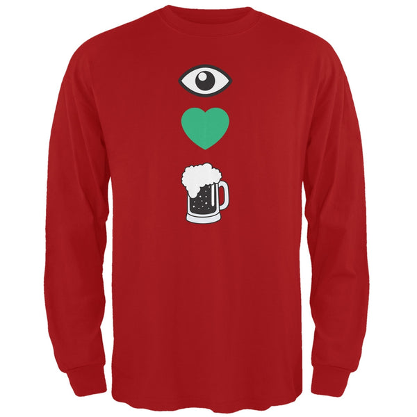 St. Patricks Day - Eye Heart Beer Red Adult Long Sleeve T-Shirt