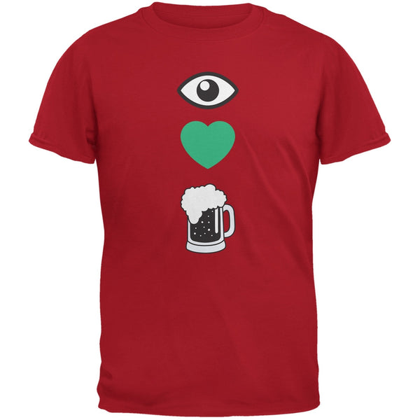 St. Patricks Day - Eye Heart Beer Red Adult T-Shirt