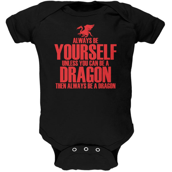 Always Be Yourself Dragon Black Soft Baby One Piece