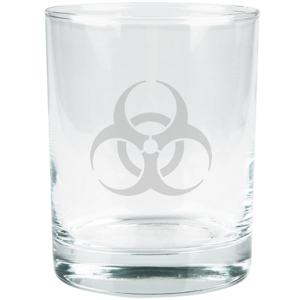 Biohazard Etched Glass Tumbler