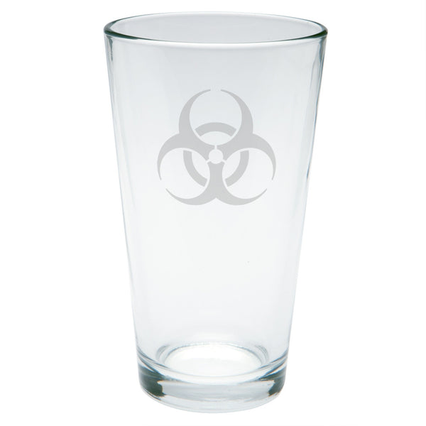 Biohazard Etched Pint Glass