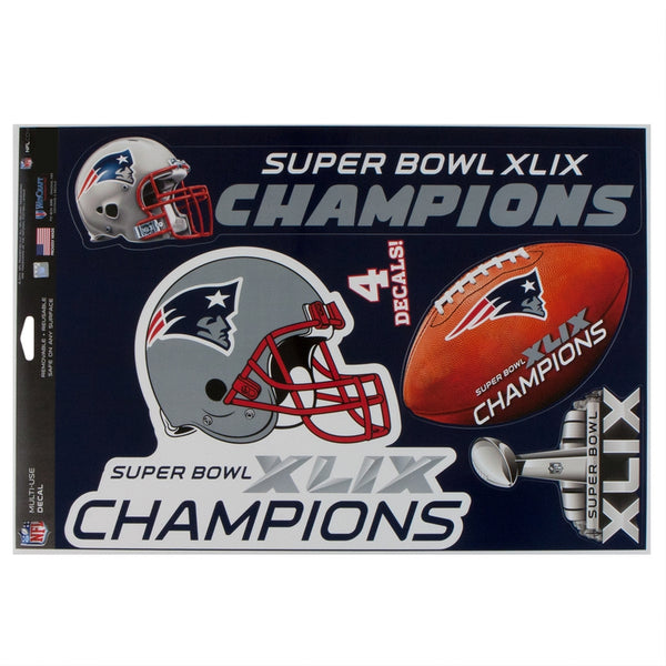 New England Patriots - Super Bowl 49 Champions Cut to Logo Decals 4 Pack Set