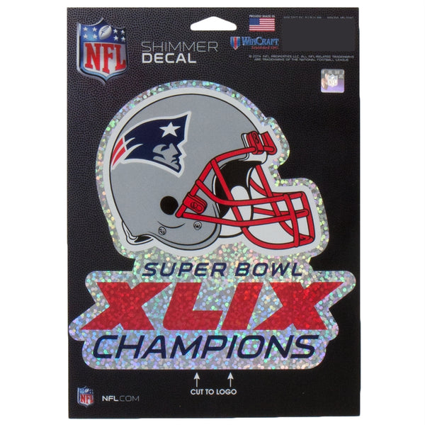 New England Patriots - Super Bowl 49 Champions 5x7 Cut to Logo Shimmer Decal