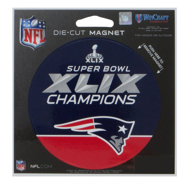 "New England Patriots - Super Bowl 49 Champions 4"" Round Die Cut Magnet"