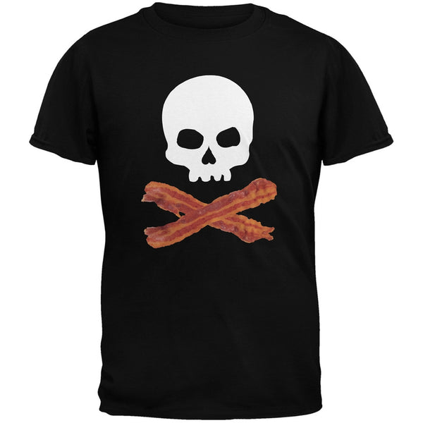 Bacon Skull And Crossbones Black Youth T-Shirt