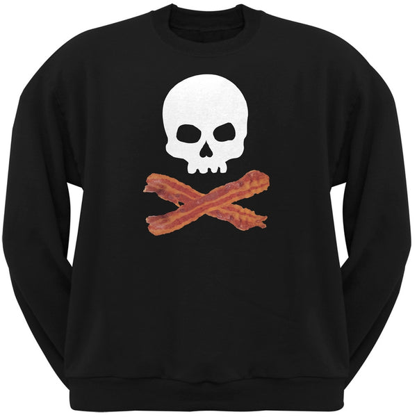 Bacon Skull And Crossbones Black Adult Crew Neck Sweatshirt