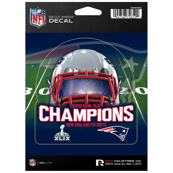 New England Patriots - Super Bowl 49 Champions Helmet & Field Collage Die Cut Decal