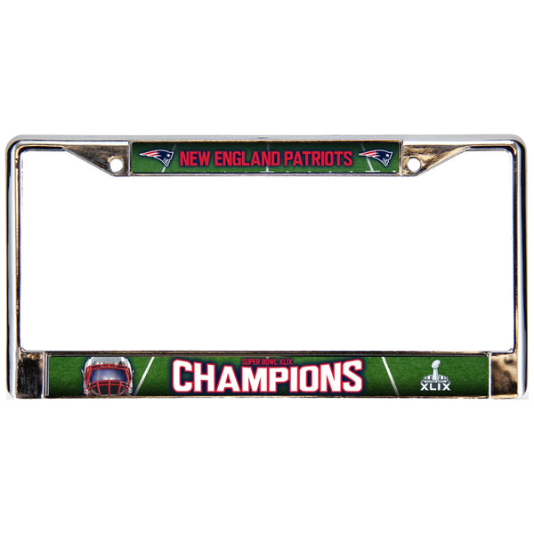 New England Patriots - Super Bowl 49 Champions Helmet & Field Collage Chrome License Plate Frame