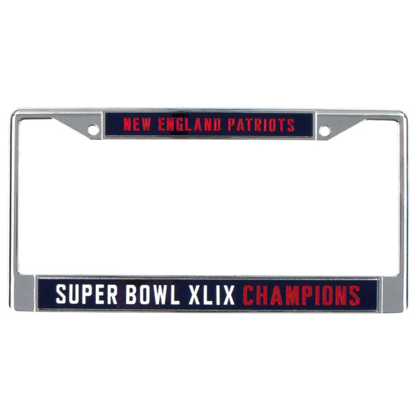 New England Patriots - Super Bowl 49 Champions Laser Cut Chrome License Plate Frame