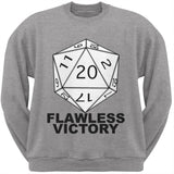 Flawless Victory D20 Role Playing Game Adult Grey Crew Neck Sweatshirt