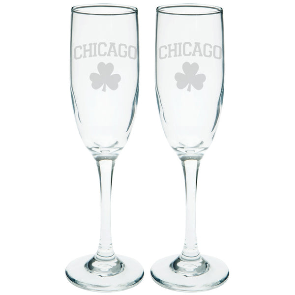 St. Patricks Day - Chicago Shamrock Etched Champagne Glass Set