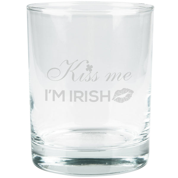 St. Patricks Day - Kiss Me I'm Irish Etched Glass Tumbler