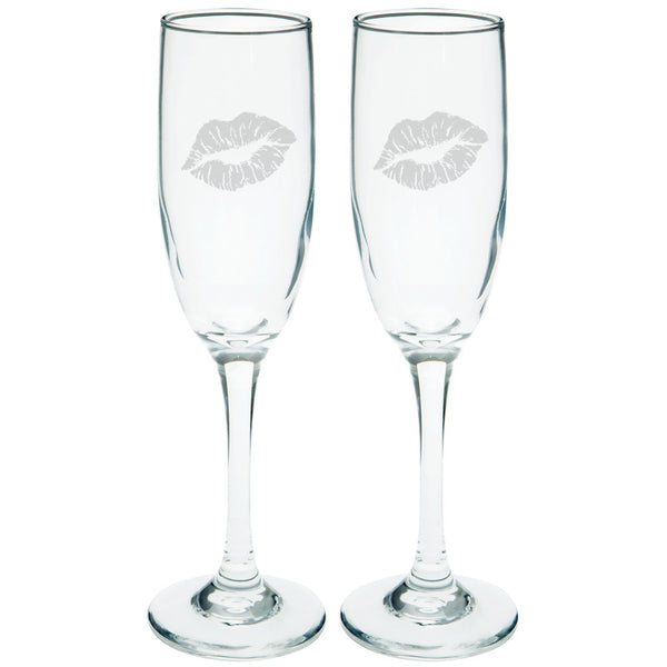 Valentine's Day - Lipstick Kiss Etched Champagne Glass Set
