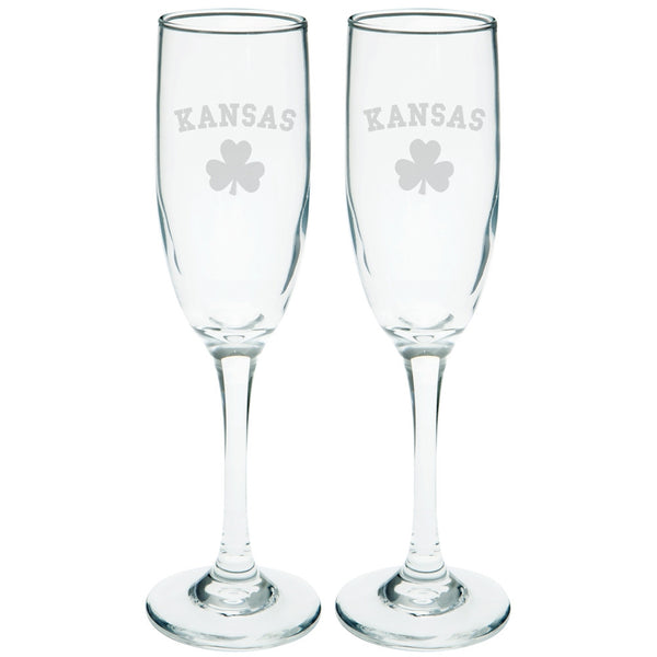 St. Patricks Day - Kansas Shamrock Etched Champagne Glass Set