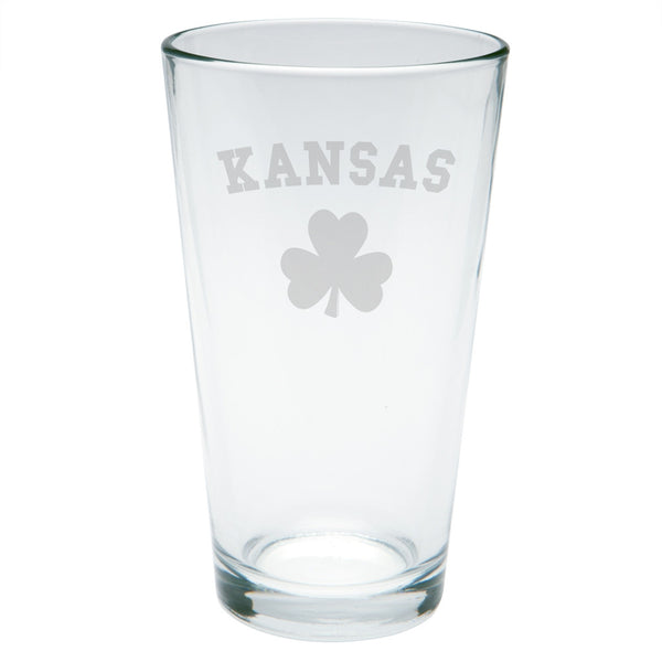St. Patricks Day - Kansas Shamrock Etched Pint Glass