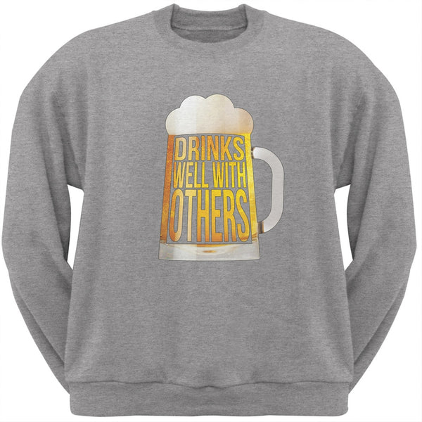 Drinks Well with Others Heather Grey Adult Sweatshirt