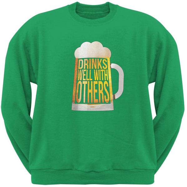 Drinks Well with Others Irish Green Adult Sweatshirt