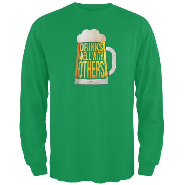 St. Patrick's Day - Drinks Well with Others Green Adult Long Sleeve T-Shirt