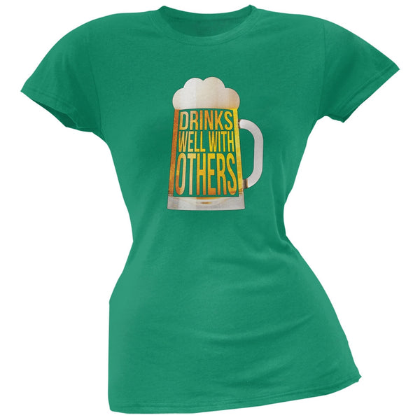 Drinks Well with Others Kelly Green Soft Juniors T-Shirt