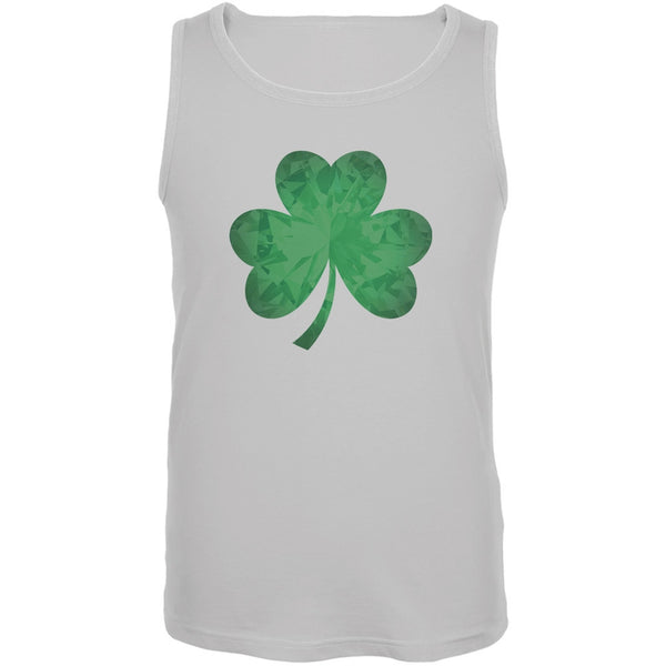 St. Patricks Day - Jeweled Shamrock White Adult Tank Top