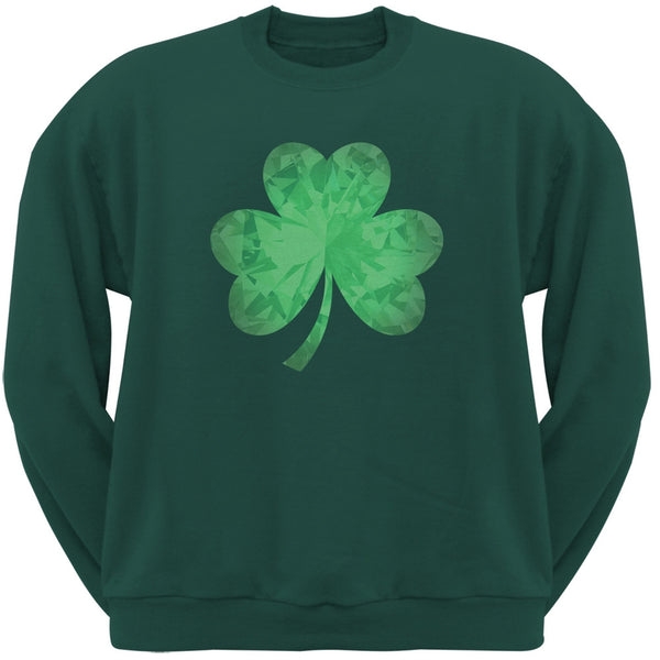 St. Patricks Day - Jeweled Shamrock Forest Green Adult Sweatshirt