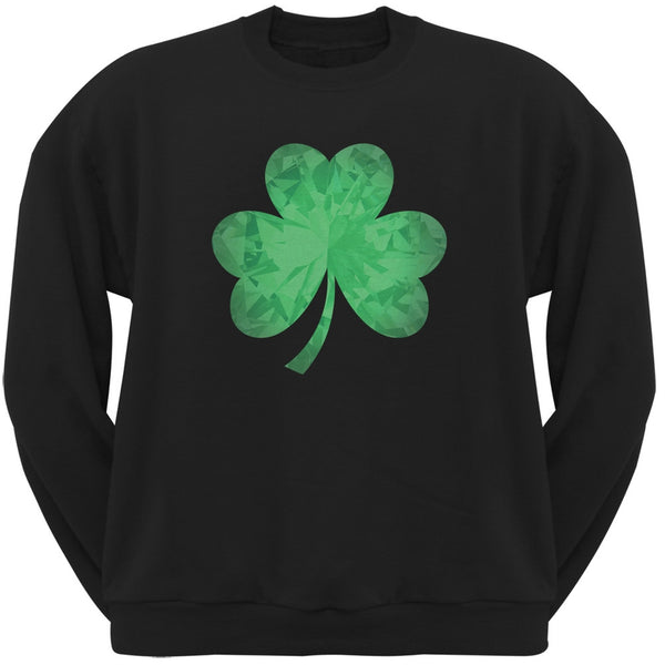 St. Patricks Day - Jeweled Shamrock Black Adult Sweatshirt