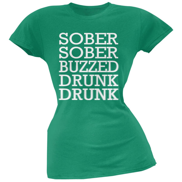 St. Patrick's Day - Sober to Drunk Kelly Green Soft Juniors T-Shirt