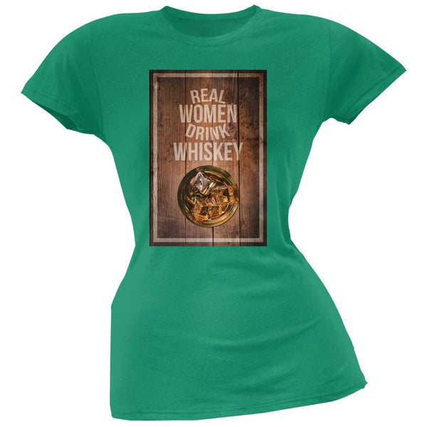 St. Patricks Day - Real Women Drink Whiskey Kelly Green Soft Juniors T-Shirt