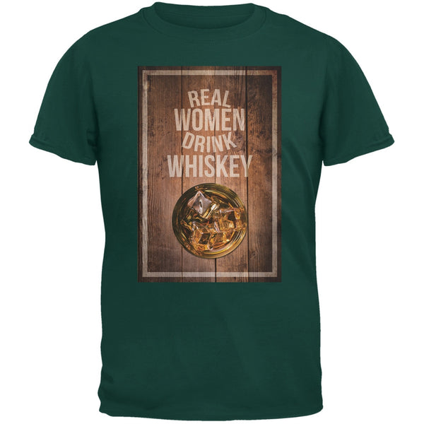 St. Patricks Day - Real Women Drink Whiskey Forest Green Adult T-Shirt
