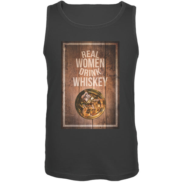 St. Patricks Day - Real Women Drink Whiskey Charcoal Adult Tank Top