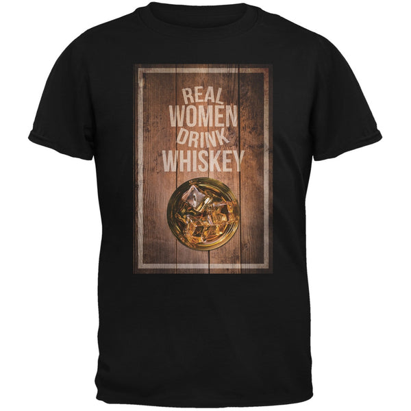 St. Patricks Day - Real Women Drink Whiskey Black Adult T-Shirt